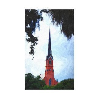"Charleston Steeple 14""x23"" Canvas Print"