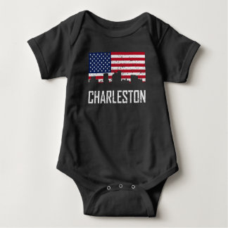 Charleston West Virginia Skyline American Flag Dis Baby Bodysuit