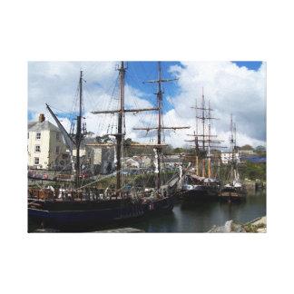 Charlestown South Cornwall Sailing Ships Canvas Print