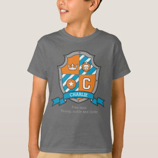 Charlie boys C name & meaning crest shield T-Shirt