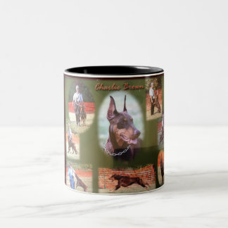 Charlie Brown working doberman Two-Tone Coffee Mug