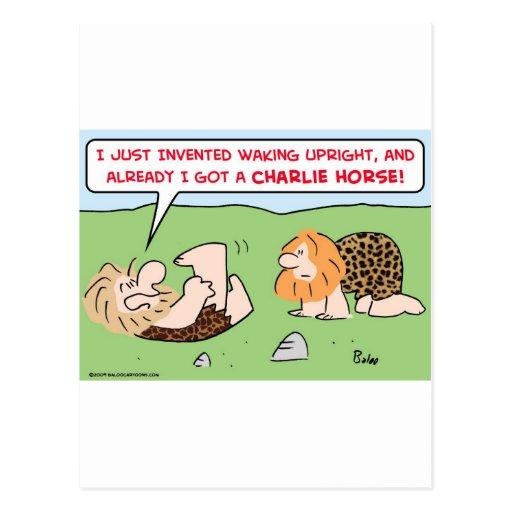 charlie horse caveman postcard