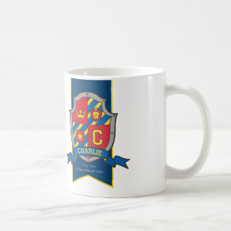 Charlie knight shield red blue name meaning mug