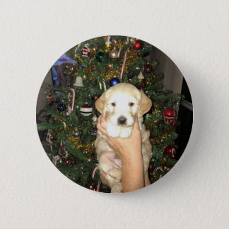 Charlie The GoldenDoodle Puppy on Christmas 2 Inch Round Button