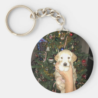 Charlie The GoldenDoodle Puppy on Christmas Keychain