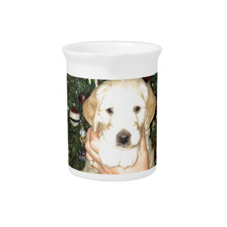Charlie The GoldenDoodle Puppy on Christmas Pitcher