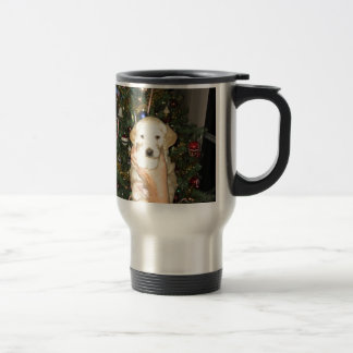 Charlie The GoldenDoodle Puppy on Christmas Travel Mug