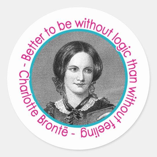 Charlotte Bronte Portrait With Quote Classic Round Sticker