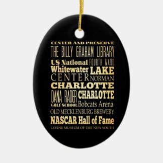 Charlotte City of North Carolina State Typography Ceramic Ornament