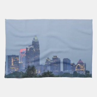 Charlotte city skyline kitchen towel
