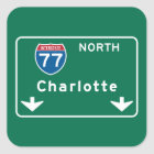 Charlotte, NC Road Sign Square Sticker