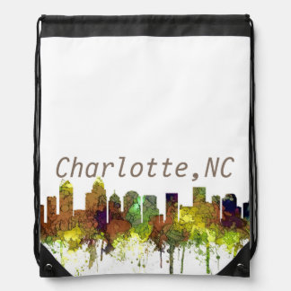 Charlotte NC Skyline SG Safari Buff Drawstring Bag
