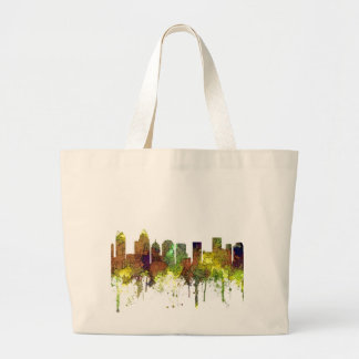 Charlotte NC Skyline SG Safari Buff Large Tote Bag