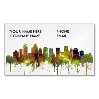 Charlotte NC Skyline SG Safari Buff Magnetic Business Card