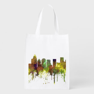 Charlotte NC Skyline SG Safari Buff Reusable Grocery Bag
