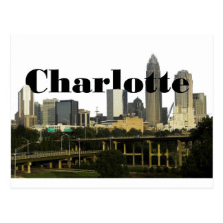 Charlotte NC Skyline with Charlotte in the Sky Postcard
