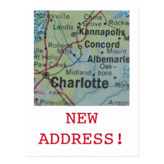 Charlotte New Address announcement Postcard