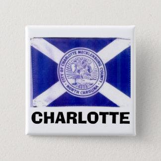 Charlotte North Carolina Flag 2 Inch Square Button