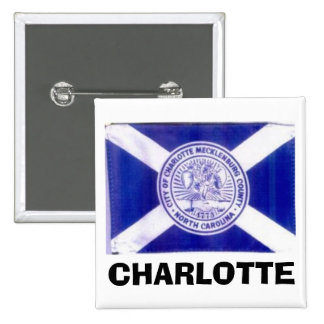 Charlotte North Carolina Flag 2 Inch Square Button