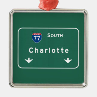 Charlotte North Carolina nc Interstate Highway : Metal Ornament
