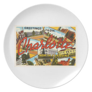 Charlotte North Carolina NC Old Vintage Postcard- Dinner Plate