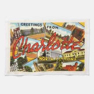 Charlotte North Carolina NC Old Vintage Postcard- Hand Towel