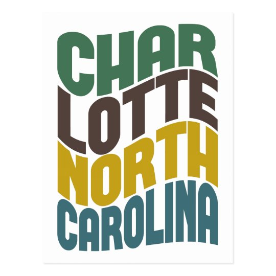 Charlotte North Carolina Retro Wave Postcard