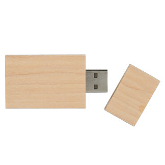 Charlotte Pink and White Stripes Baby Pink Wood USB 2.0 Flash Drive