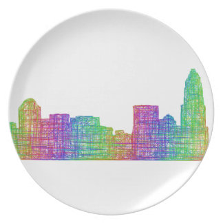 Charlotte skyline dinner plates