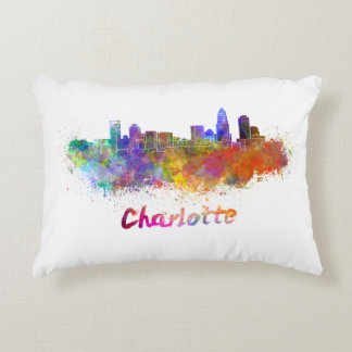 Charlotte skyline in watercolor accent pillow