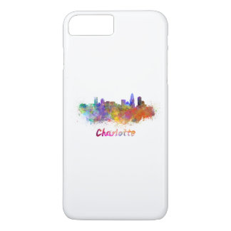 Charlotte skyline in watercolor iPhone 8 plus/7 plus case
