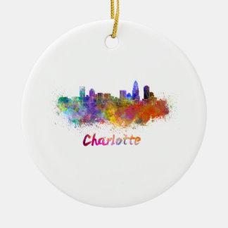 Charlotte skyline in watercolor round ceramic ornament