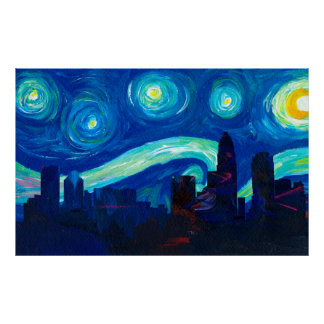 Charlotte Skyline Silhouette at Starry Night Poster