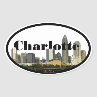 Charlotte Skyline with Charlotte in the Sky Oval Sticker