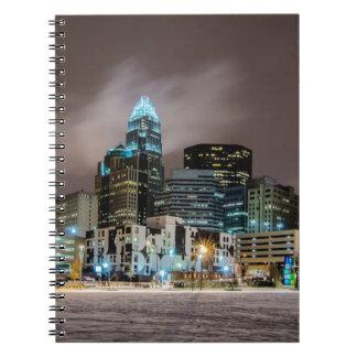 Charlotte snow skyline spiral notebook