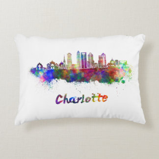 Charlotte V2 skyline in watercolor Decorative Pillow