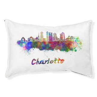 Charlotte V2 skyline in watercolor Pet Bed