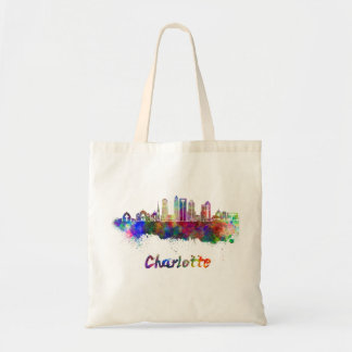 Charlotte V2 skyline in watercolor Tote Bag