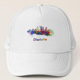 Charlotte V2 skyline in watercolor Trucker Hat