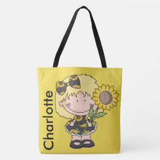 Charlotte's Personalized Sunflower Tote Bag