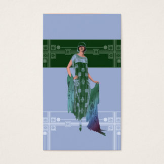 Charlotte's Shawl: 1920s Fashion in Blue & Green Business Card
