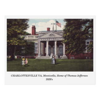 Charlottesville VA, Thomas Jefferson Home postcard