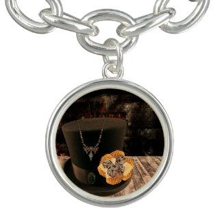 Charm Bracelet With Steampunk Hat Charm