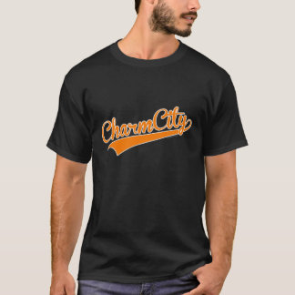 Charm City (Baltimore) Baseball Script - Orange T-Shirt