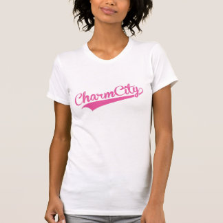 Charm City (Baltimore) Baseball Script - Pink T-Shirt