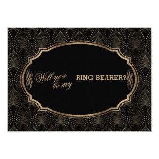 Charm Great Gatsby Art Deco Wedding Ring Bearer Card