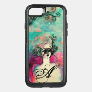 CHARM /Lady With Mask Monogram Pink Teal Green OtterBox Commuter iPhone 8/7 Case