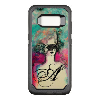CHARM /Lady With Mask Monogram Pink Teal Green OtterBox Commuter Samsung Galaxy S8 Case