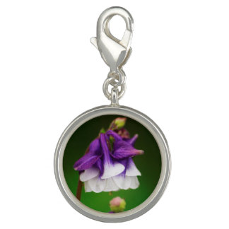 charm - purple and white flower with green