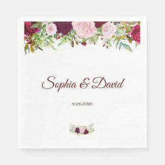 Charm Rustic Burgundy Marsala Floral Wedding Paper Napkin
